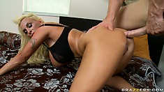 Riding that big cock gives the stunning blonde great and intense pleasure