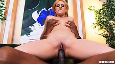 The horny babe relishes every stroke of cock in her peach and swallows his cum