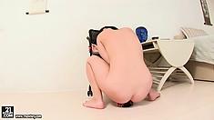 Netta sucks on her dildo and sticks it on the floor to fuck her ass