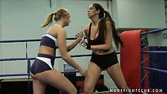 Lisa Sparkle and Linda Ray dance on the boxing ring like wild fire