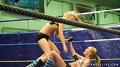 Two pretty blonde become horny as hell while they engage in fight