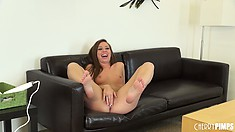 Fun loving brunette Maddy O'Reilly spreads her legs to toy her cunt