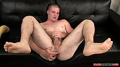 He sticks a finger up his ass while he's jerking his big meat pole