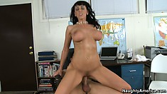 Provocative distaff Alia Janine uses her sexual power to get that dick inside