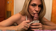 The sexy lady knows her way around a big cock and pleases this one with pure passion