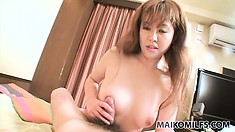 Chubby asian bimbo plays with her man's cock during a POV film