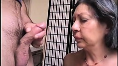 Big Bertha sucks a young dick and stuffs her fat old pussy with a dildo
