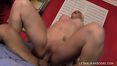 Naughty blonde broad gets her pink pussy lapped up and fucked