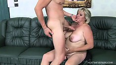 Busty blonde mature lady loves to have the young stud's cock drilling her needy cunt