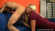 Blonde Milf hottie licks bone and ass and rides his big prick for a surprise