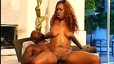 Sex-starved ebony slut plays with her busty lover before getting drilled