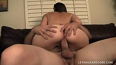 Petite brunette with cute tan lines gets ravaged by an older man