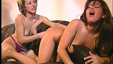 Exotic lesbians Misty Mendez and Paige Sinclair share a dildo and find pleasure