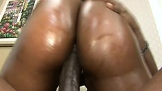 Oiled-up black slut begs her man to ride his addictive boner
