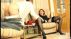 Marion has Shurik sucking her toes and dildo before she strapon fucks him