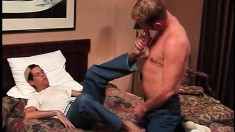 Sexy college boy gets his cock sucked and his butt fucked on the bed