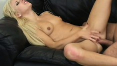 Hot blond fucks him in all the classic positions then squirts on him