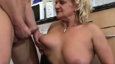 Big, saggy tit mature Klara gets her old cunny drilled by a young buck
