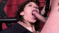 Sexy mature lady with long legs enjoys rough anal sex in the dungeon