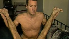 Hairy cocksucker spreads his legs and gets fucked deep in the ass