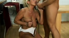 Cute mature hooker with fair hair gets her old pussy penetrated