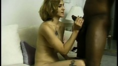 Old white chick rides his big black cock and swallows his load