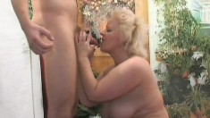 Chunky mature blonde in red lingerie Vicky is in need of a hard dick in her peach