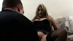 A sexy latina girl gets her holes filled with cock in a group scene