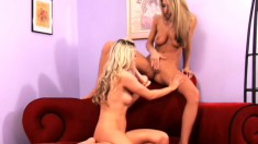 Two lovely girls Sammie and Ashley make each other cum by using toys