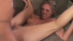 Stacked blonde deep throats a long prick and fucks it with intensity