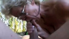 Blue haired granny sucks cock and gets her fuzzy pussy filled