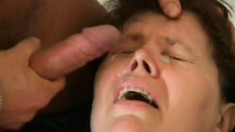 Fat mature bitch gets fucked and facialized like a porn slut