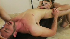 Slutty Latina wildly fucks a big rod and takes a huge load in her mouth