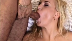 Husband watches his busty blonde wife getting fucked hard by two guys