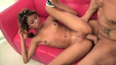 Perky girl Veronica in sexy high heeled boots rides a stiff choad