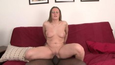Thick white MILF gets her pussy stirred by a massive black cock