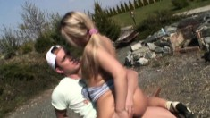 Slutty young blonde gets off on being groped and fucked outdoors