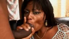 Voluptuous Ebony Safira Puts Her Lusty Lips Around A Rigid Boner
