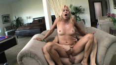 Skinny blonde with a big butt gets rocked balls deep on the couch