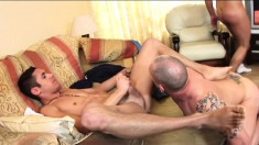 Well-endowed Myles Bentley loves having threesomes with Duke Michaels and Giovanni