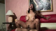 Stacked mature lady Persia Monir works her hairy peach on a hard pole