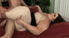 Angie Luv climbs on top and bounces on a massive love muscle