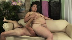 Fat Angelina Largo sits on his face and he lives to poke her cunt