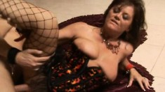 Busty milf in hot lingerie embarks on a wild adventure with a hung guy