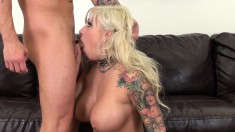 Big tit, tattooed blonde Vyxen Steel gets hammered and a mouthful of cum