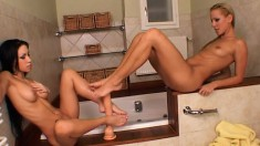 Two insatiable starlets can't get enough of playing in the tub