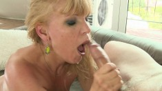 Luscious blonde mommy gives a hot blowjob and then gets drilled deep