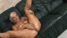 Big breasted granny plays with sex toys and fucks a hard pole in POV