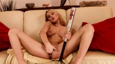 Big breasted beauty Antonya stretches her sweet cunt every way she can
