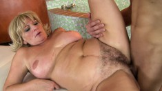 Blonde mature sex goddess gets her hairy pussy deeply plowed